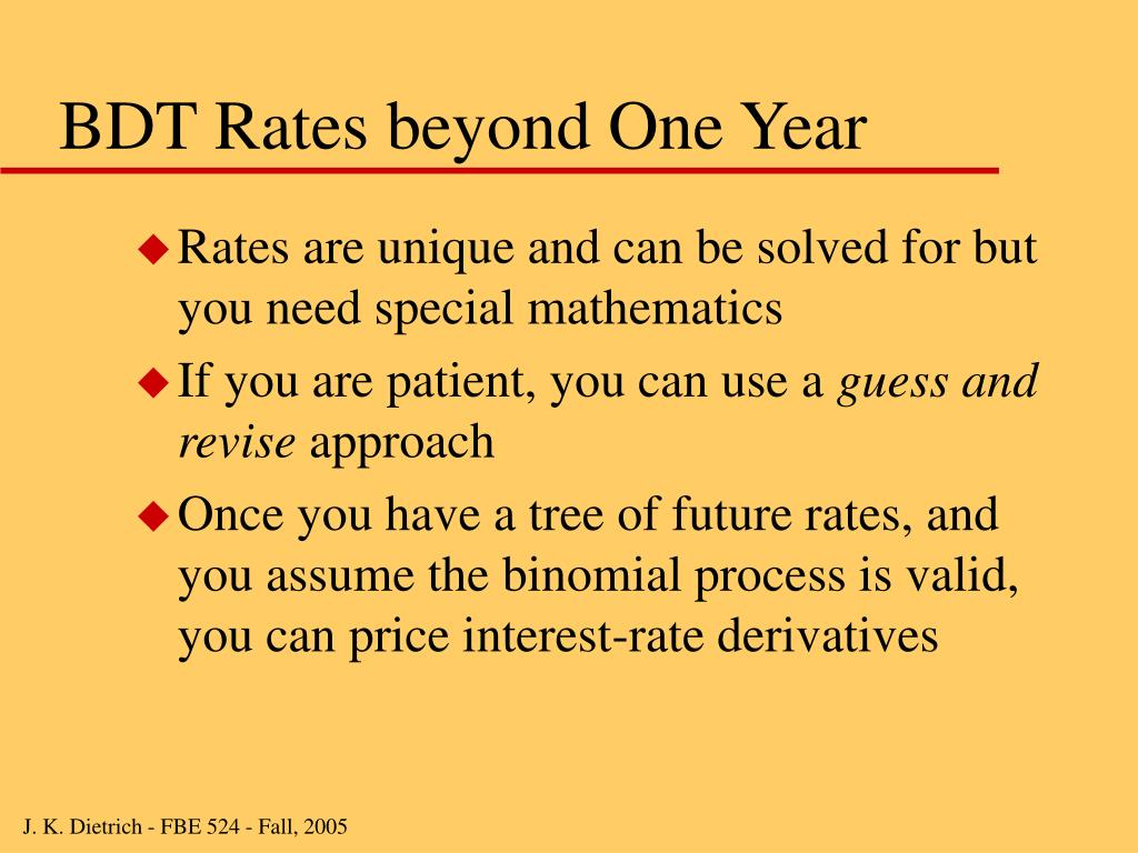 BDT Rates beyond One Year