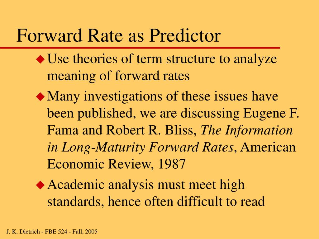Forward Rate as Predictor