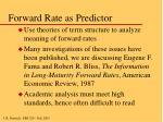 forward rate as predictor