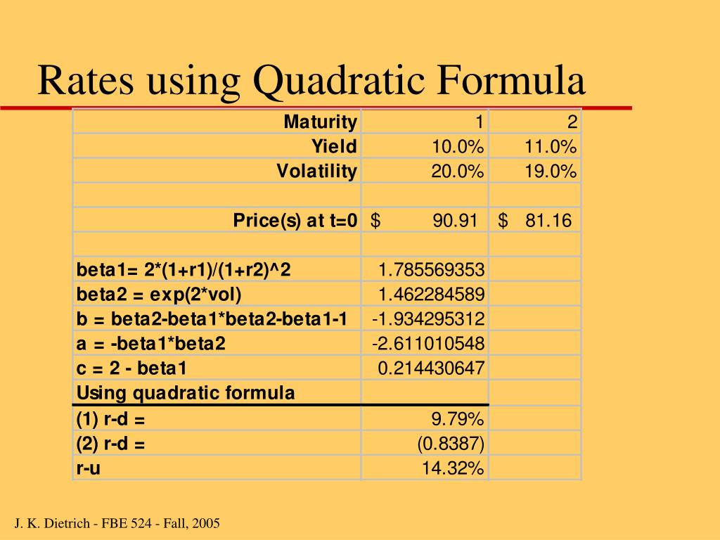 Rates using Quadratic Formula