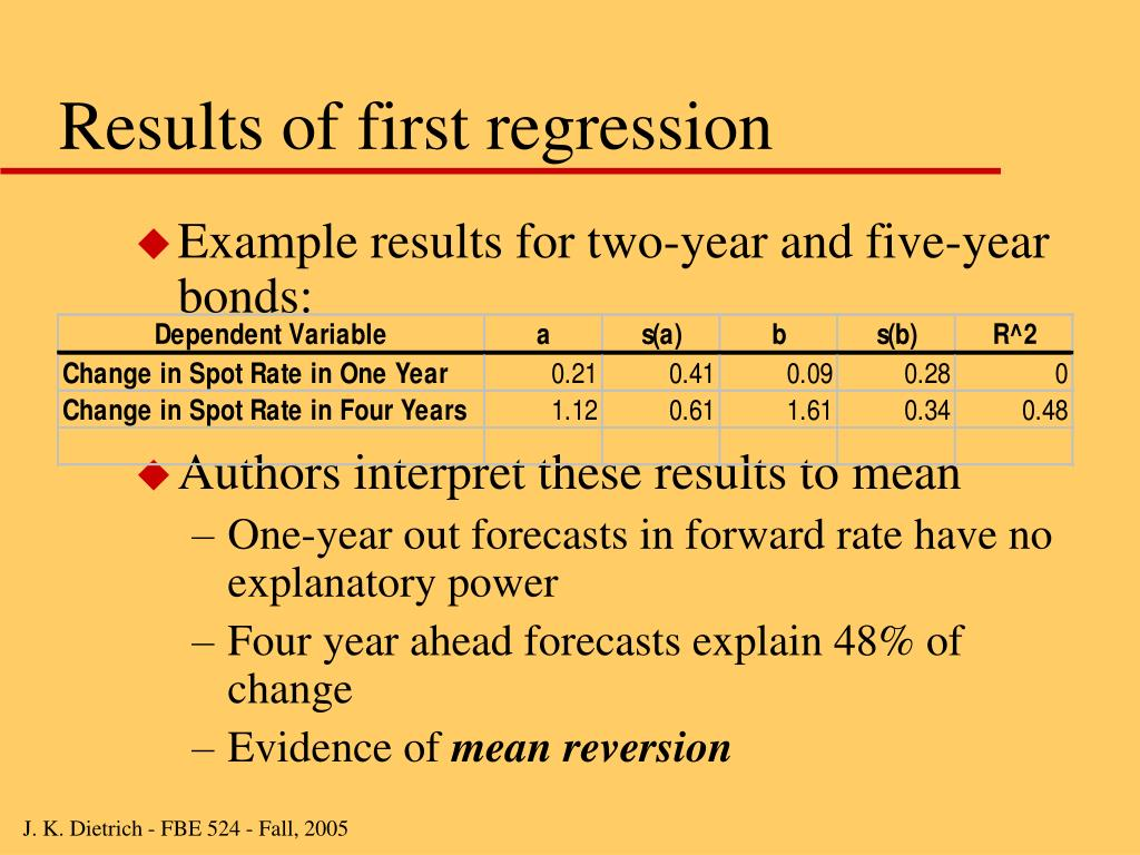 Results of first regression