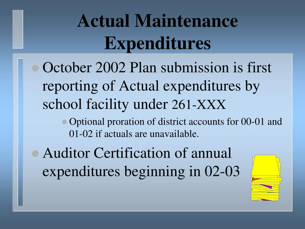 Actual Maintenance Expenditures