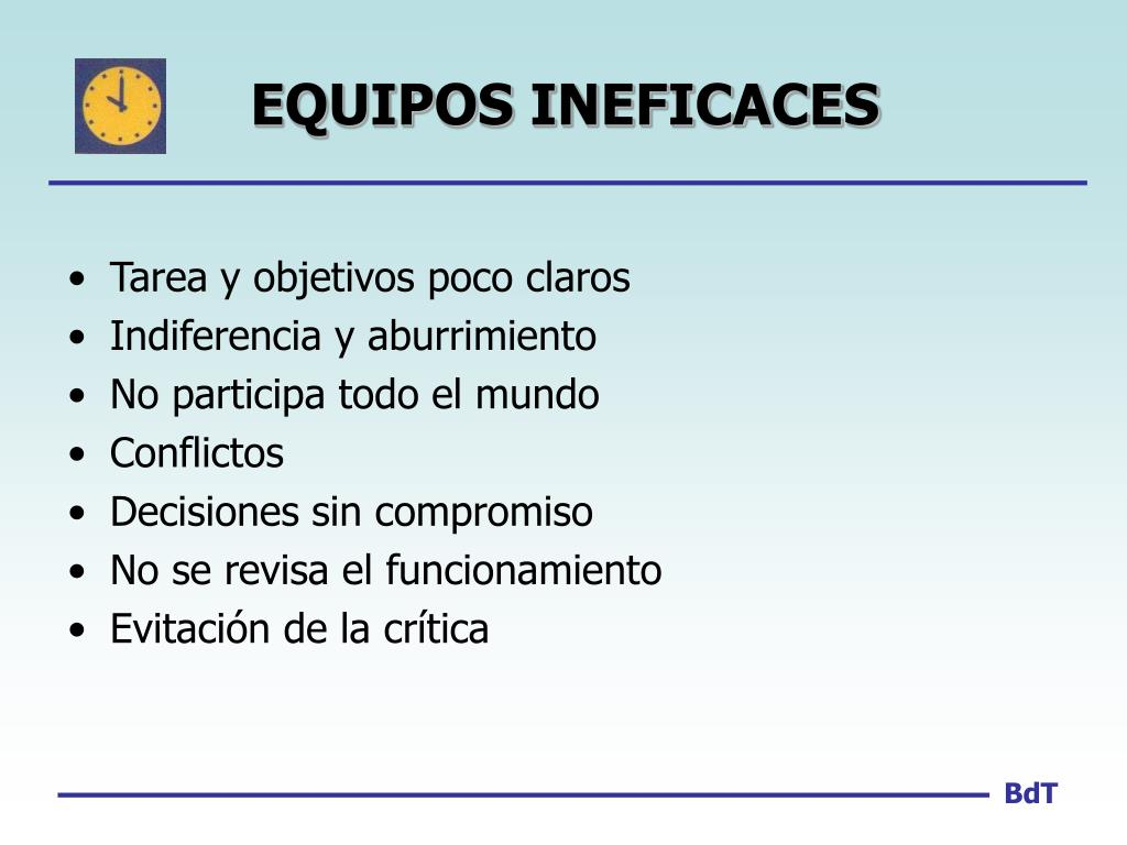EQUIPOS INEFICACES