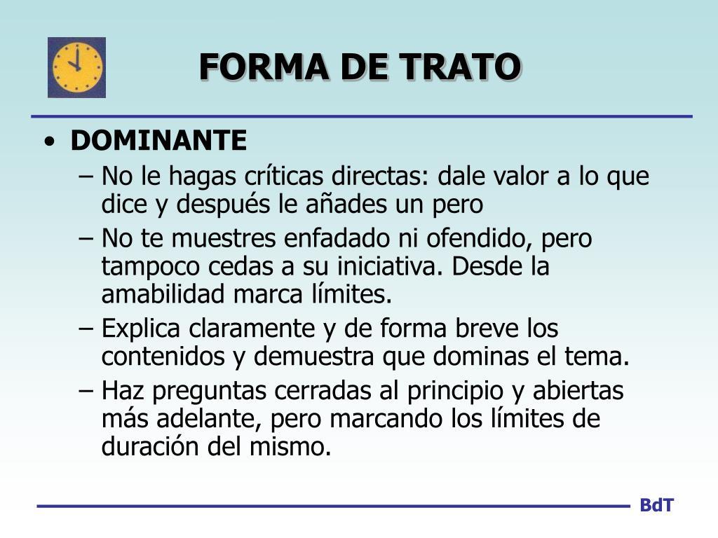 FORMA DE TRATO