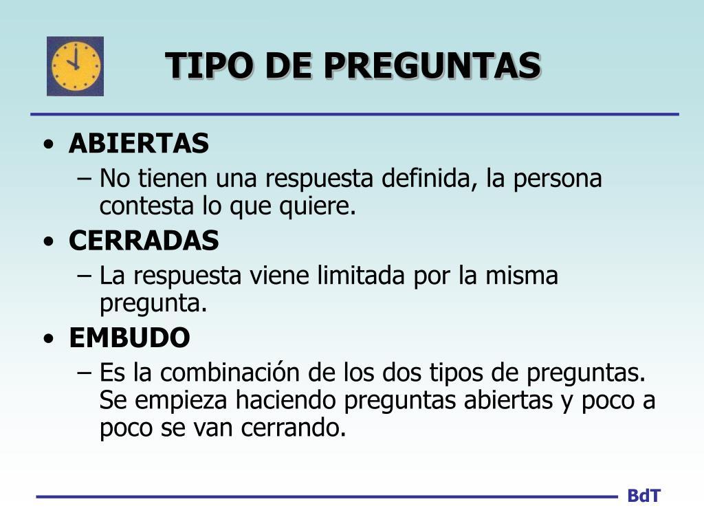 TIPO DE PREGUNTAS