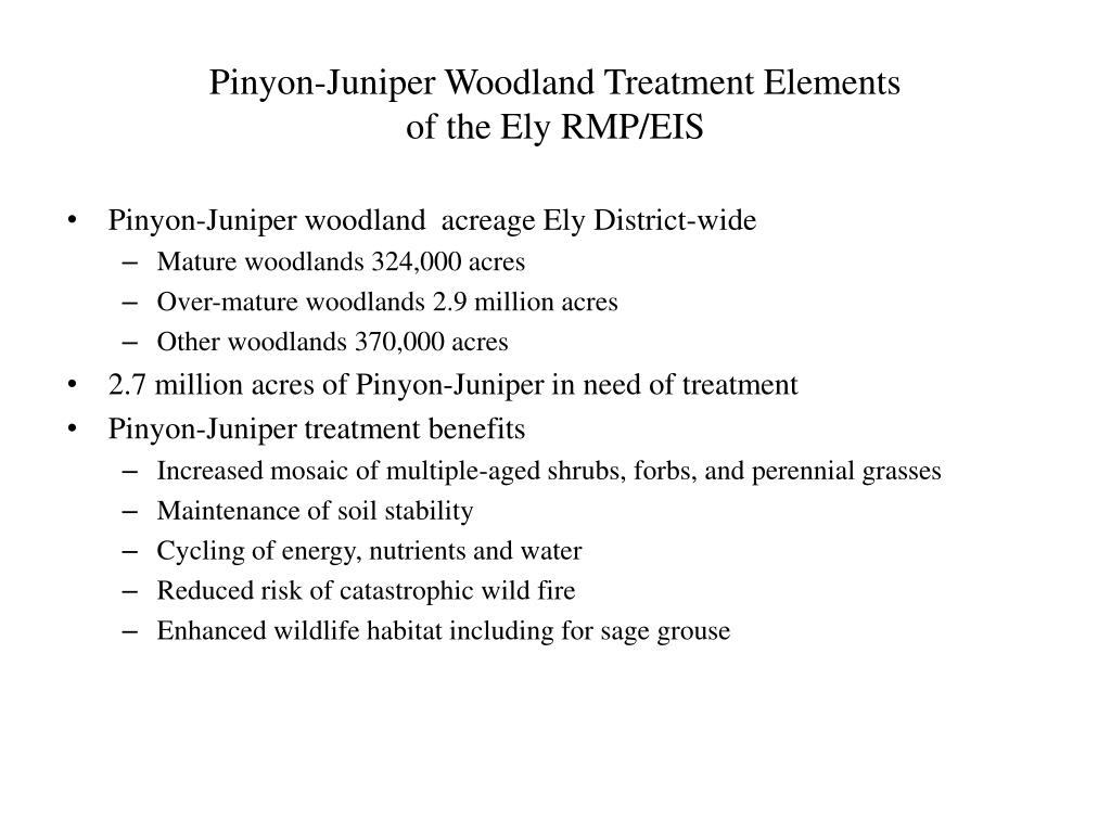 Pinyon-Juniper Woodland Treatment Elements