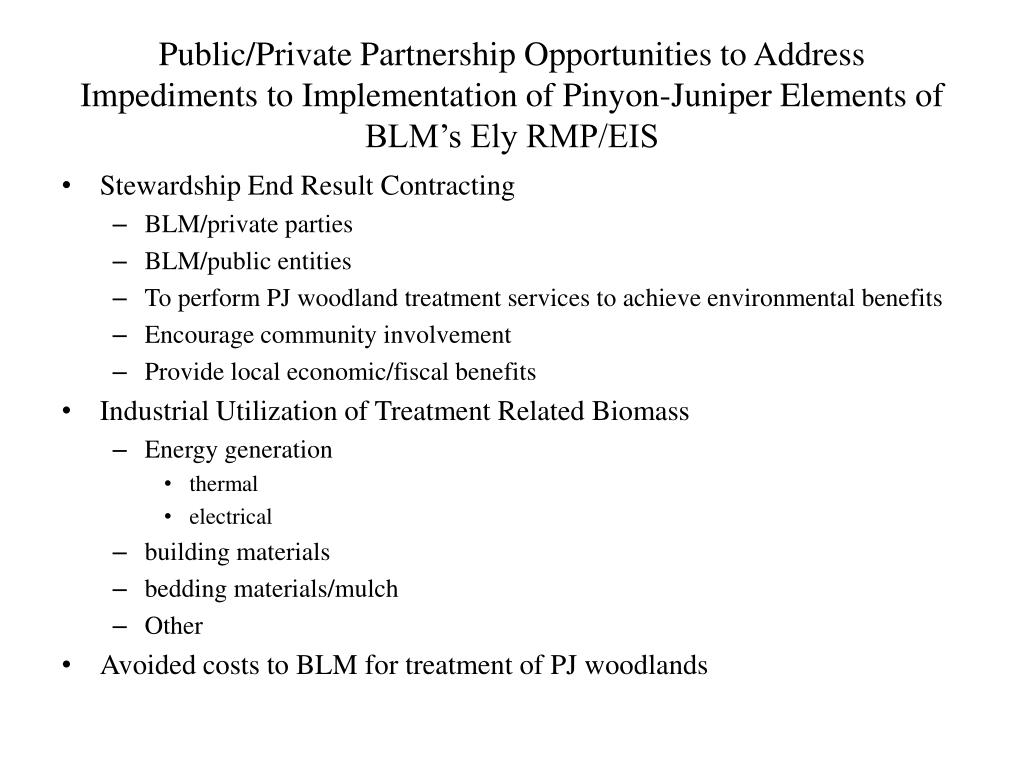 Public/Private Partnership Opportunities to Address