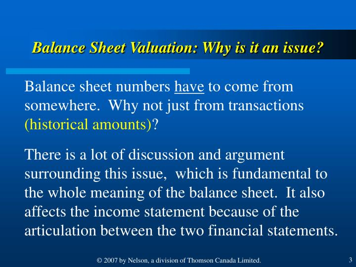 Balance Sheet Valuation: Why is it an issue?