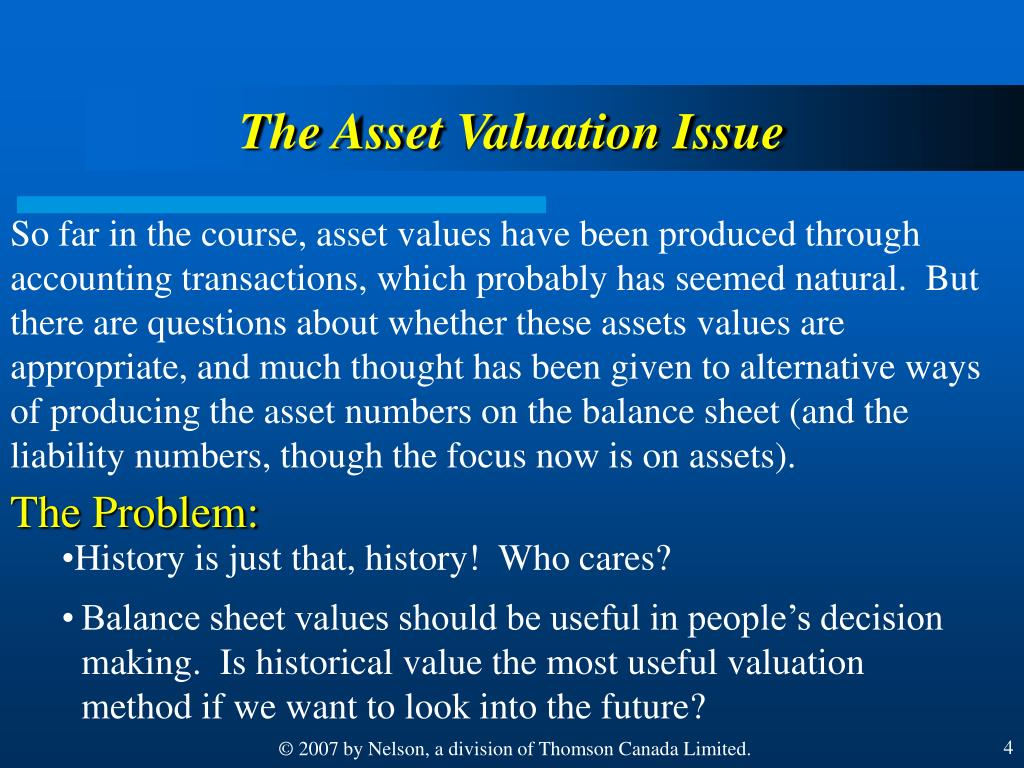 The Asset Valuation Issue