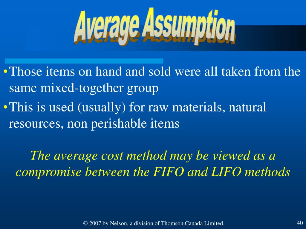 Average Assumption