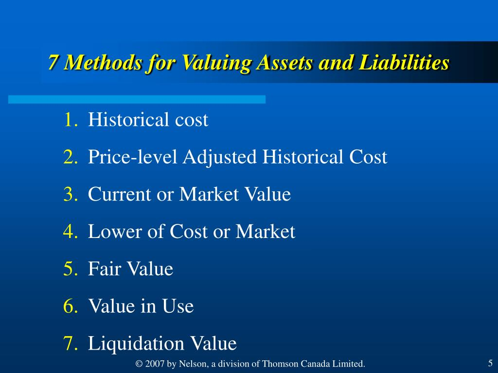 7 Methods for Valuing Assets and Liabilities