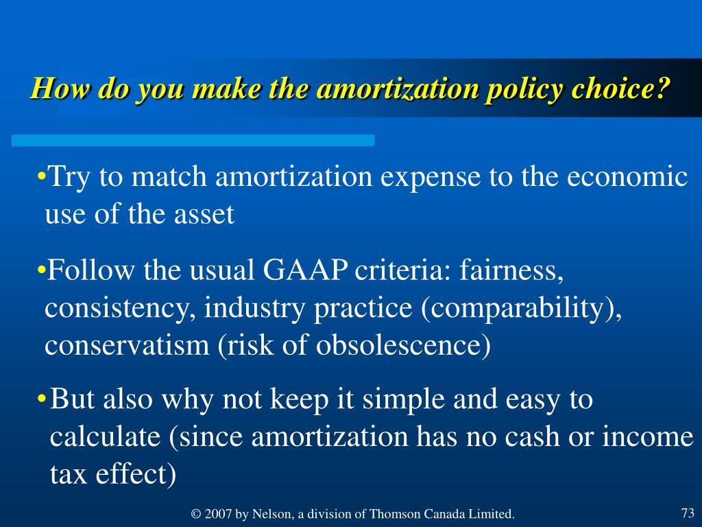 How do you make the amortization policy choice?