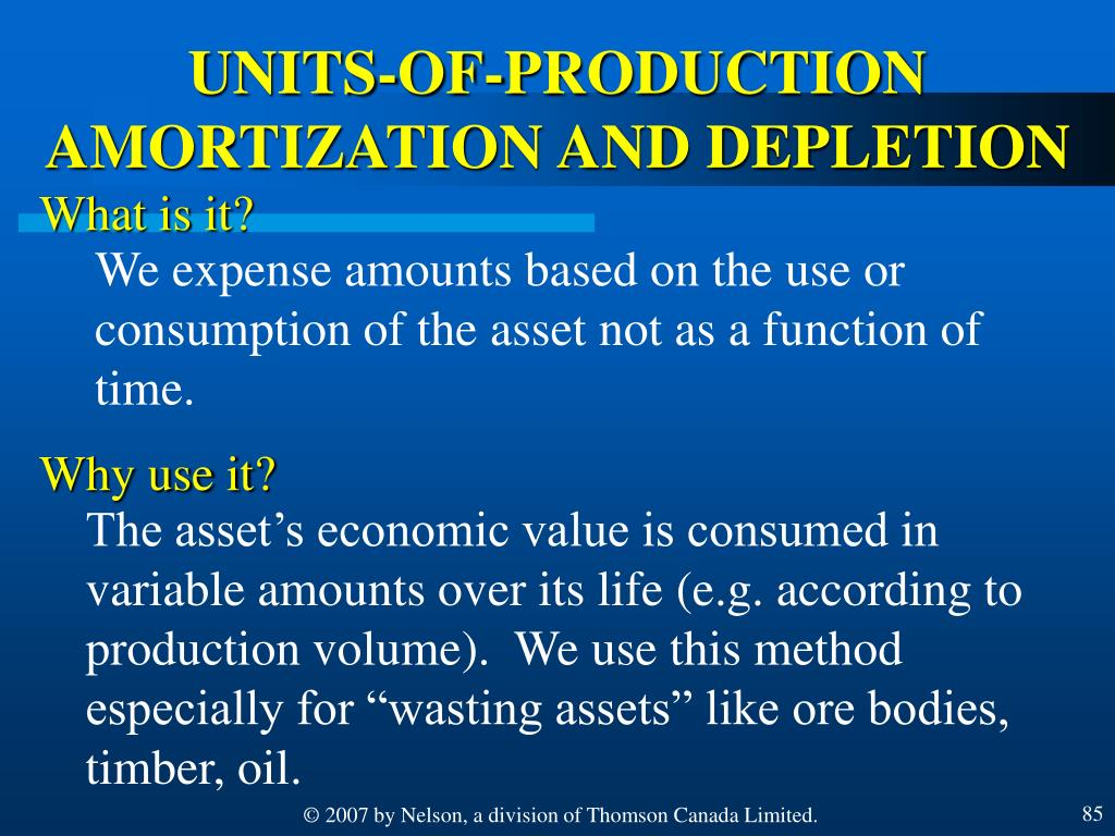 UNITS-OF-PRODUCTION AMORTIZATION AND DEPLETION