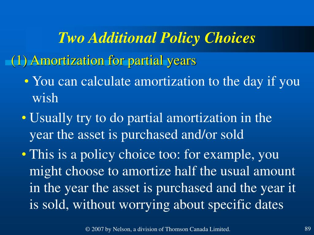 Two Additional Policy Choices