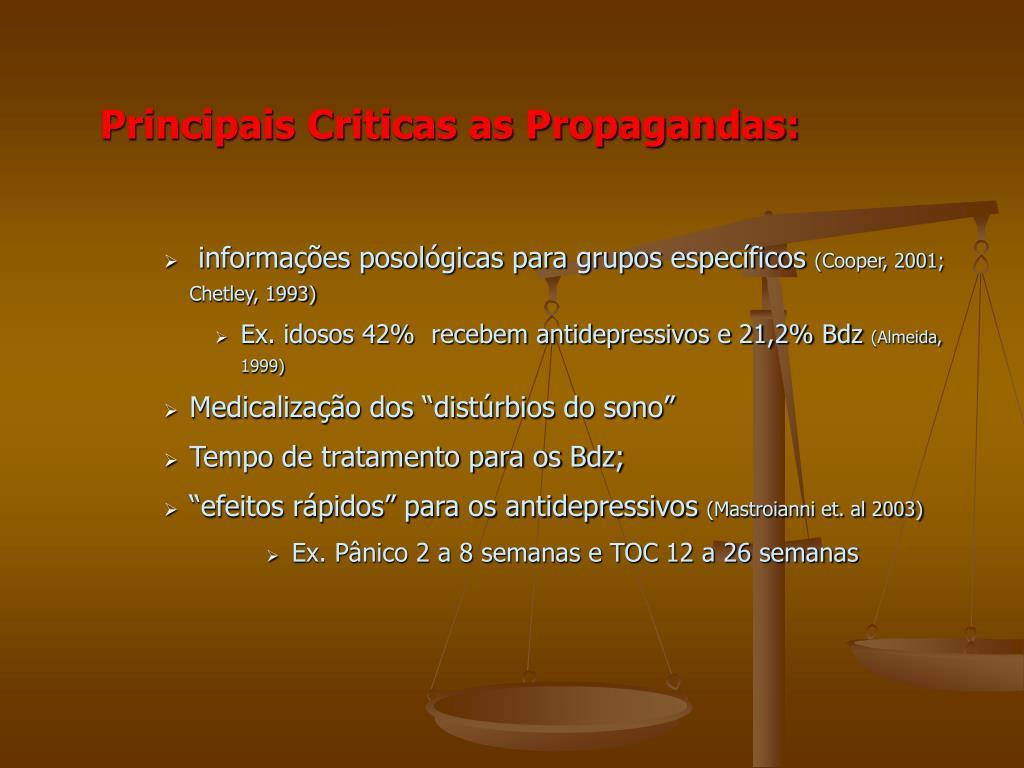 Principais Criticas as Propagandas: