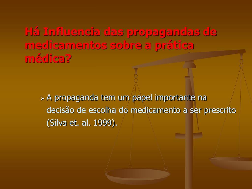 Há Influencia das propagandas de medicamentos sobre a prática médica?