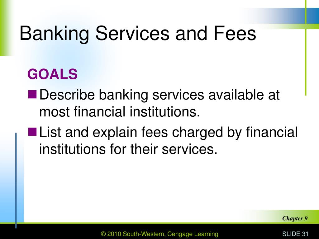 Banking Services and Fees