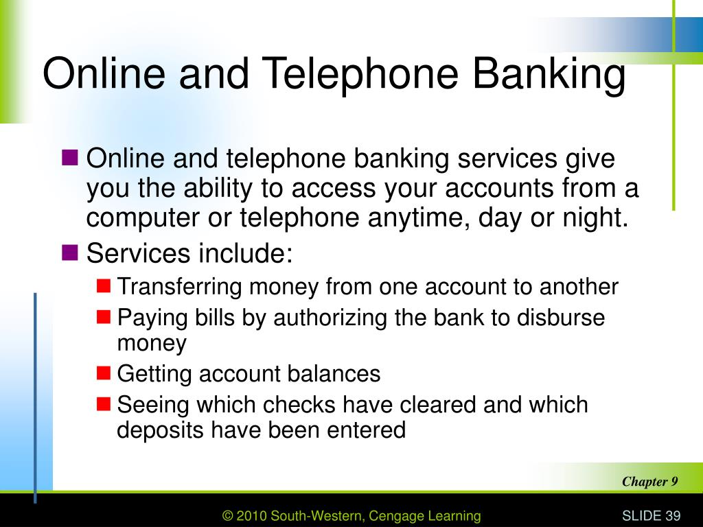 Online and Telephone Banking