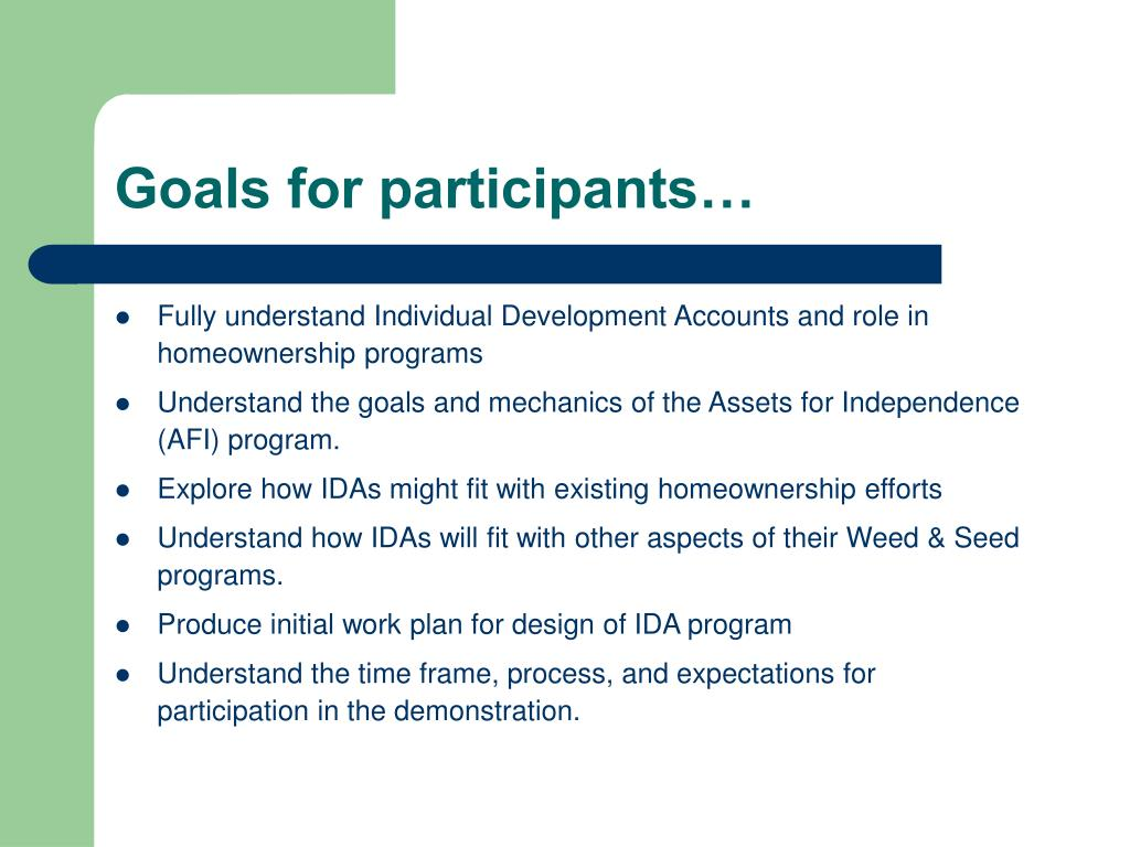 Goals for participants…
