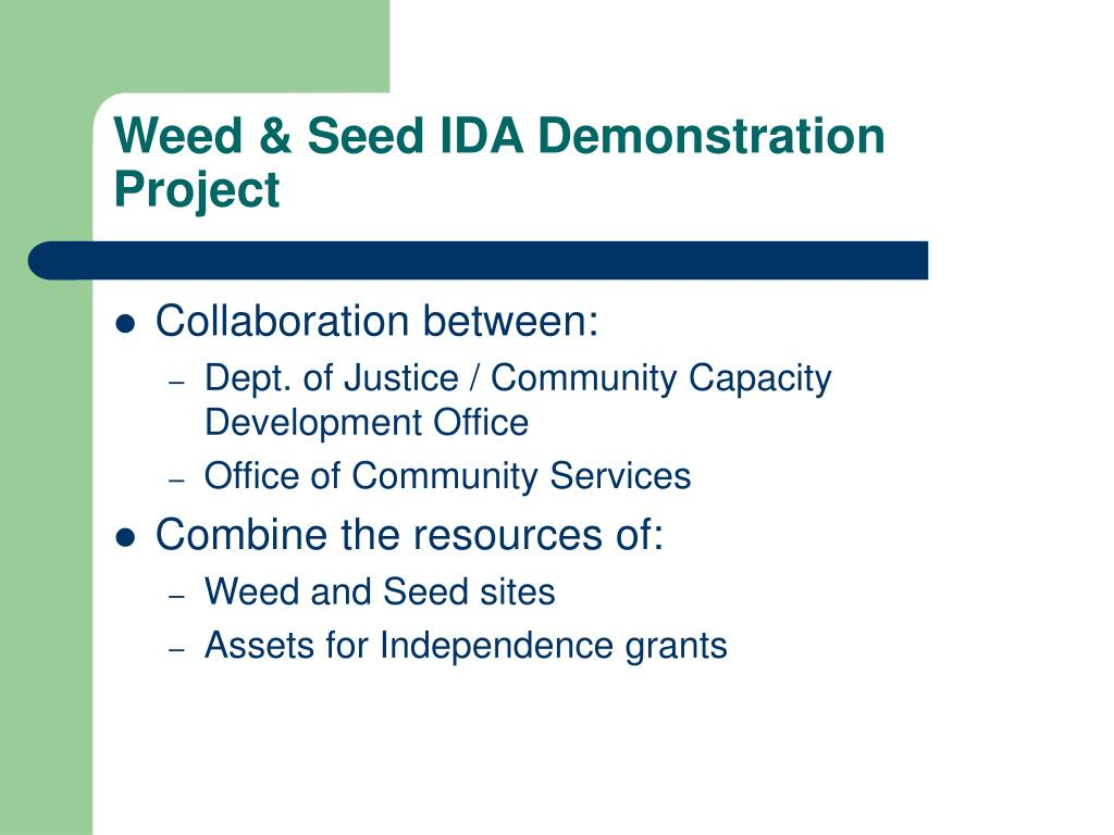 Weed & Seed IDA Demonstration Project