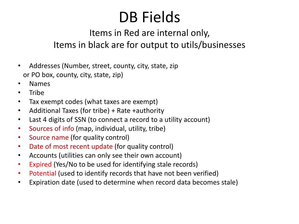 DB Fields