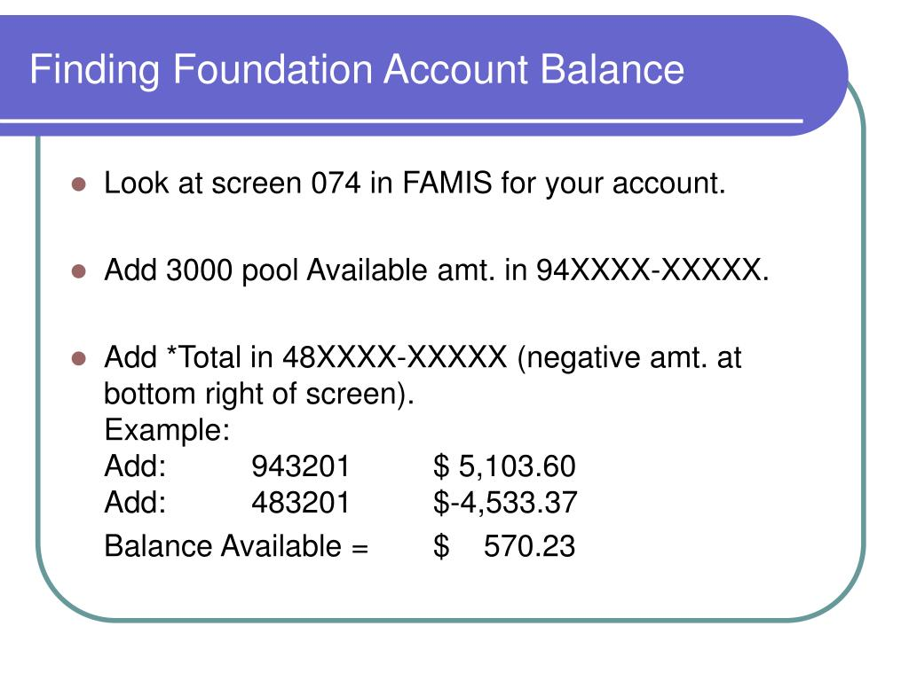 Finding Foundation Account Balance