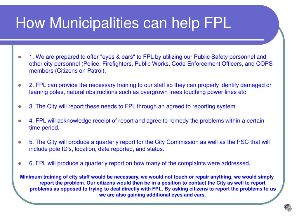 How Municipalities can help FPL