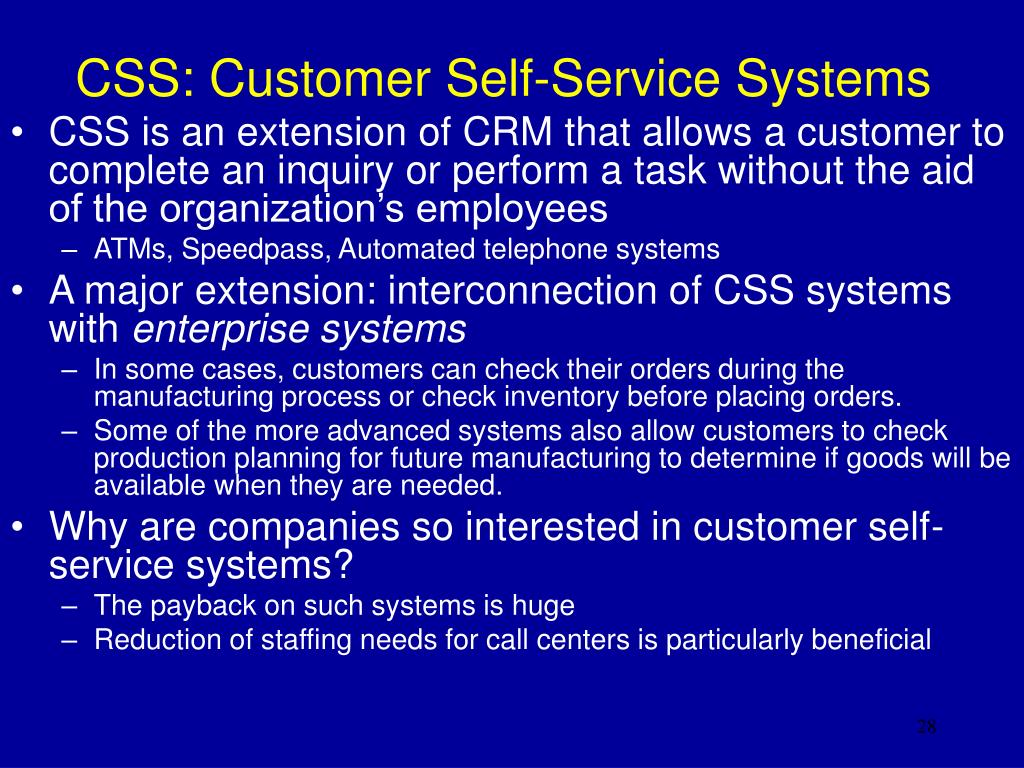 CSS: Customer Self-Service Systems