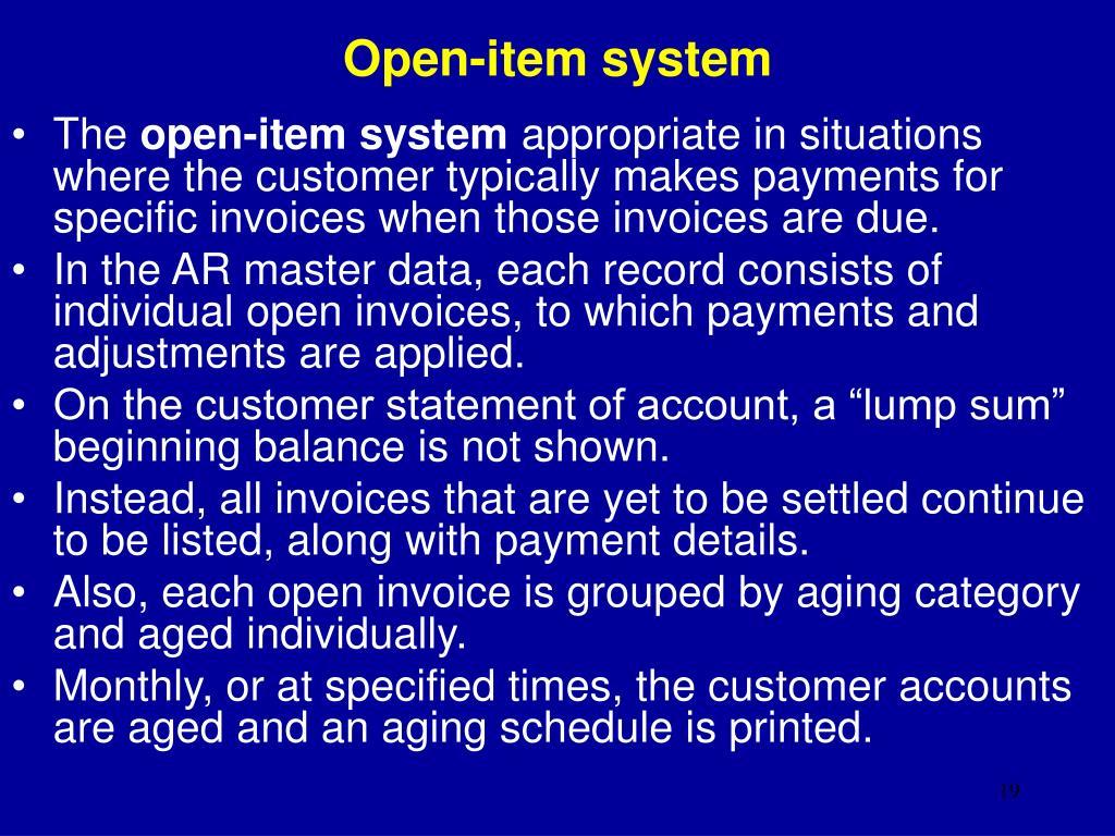 Open-item system