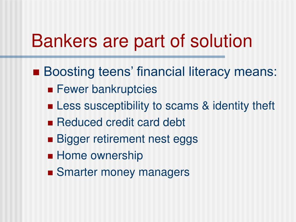 Bankers are part of solution