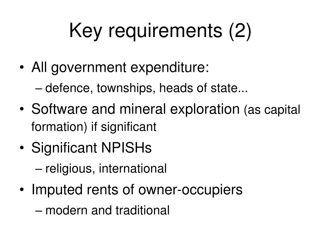 Key requirements (2)