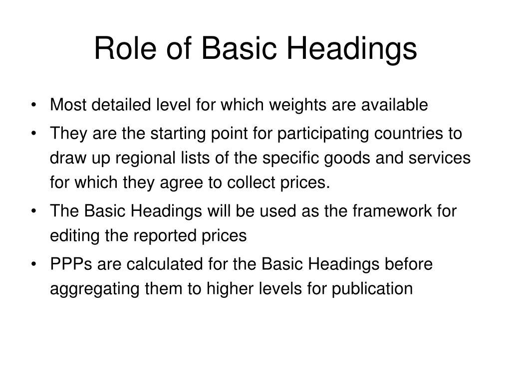 Role of Basic Headings