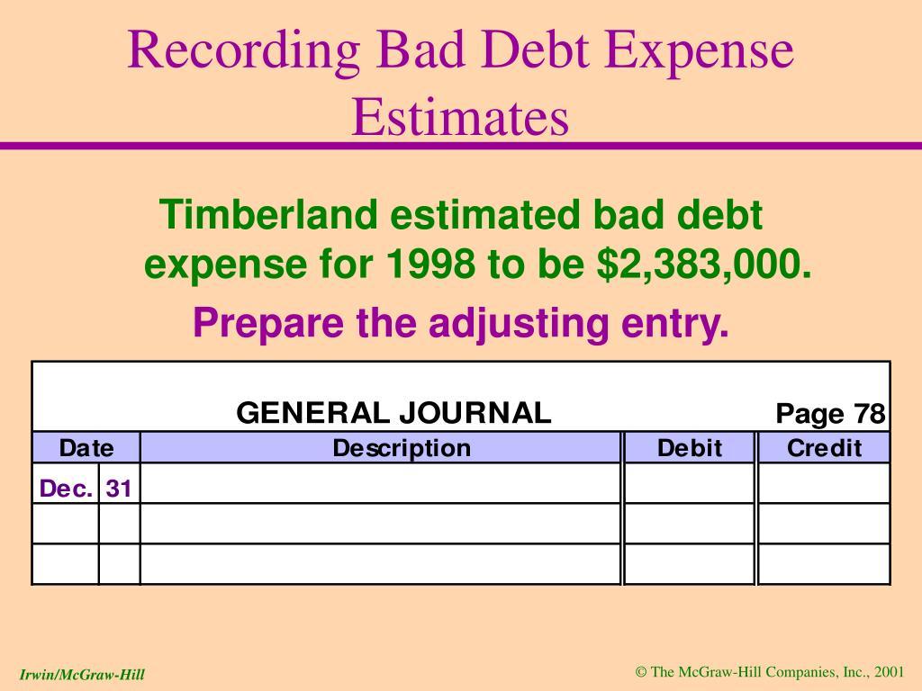 Recording Bad Debt Expense Estimates