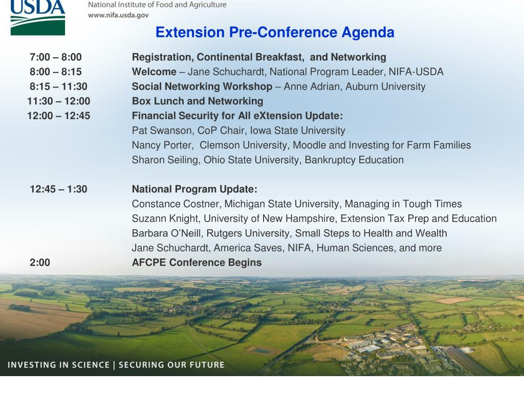 Extension Pre-Conference Agenda
