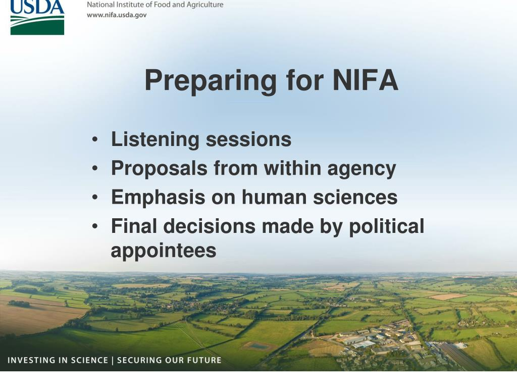 Preparing for NIFA