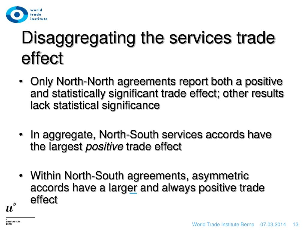 Disaggregating the services trade effect