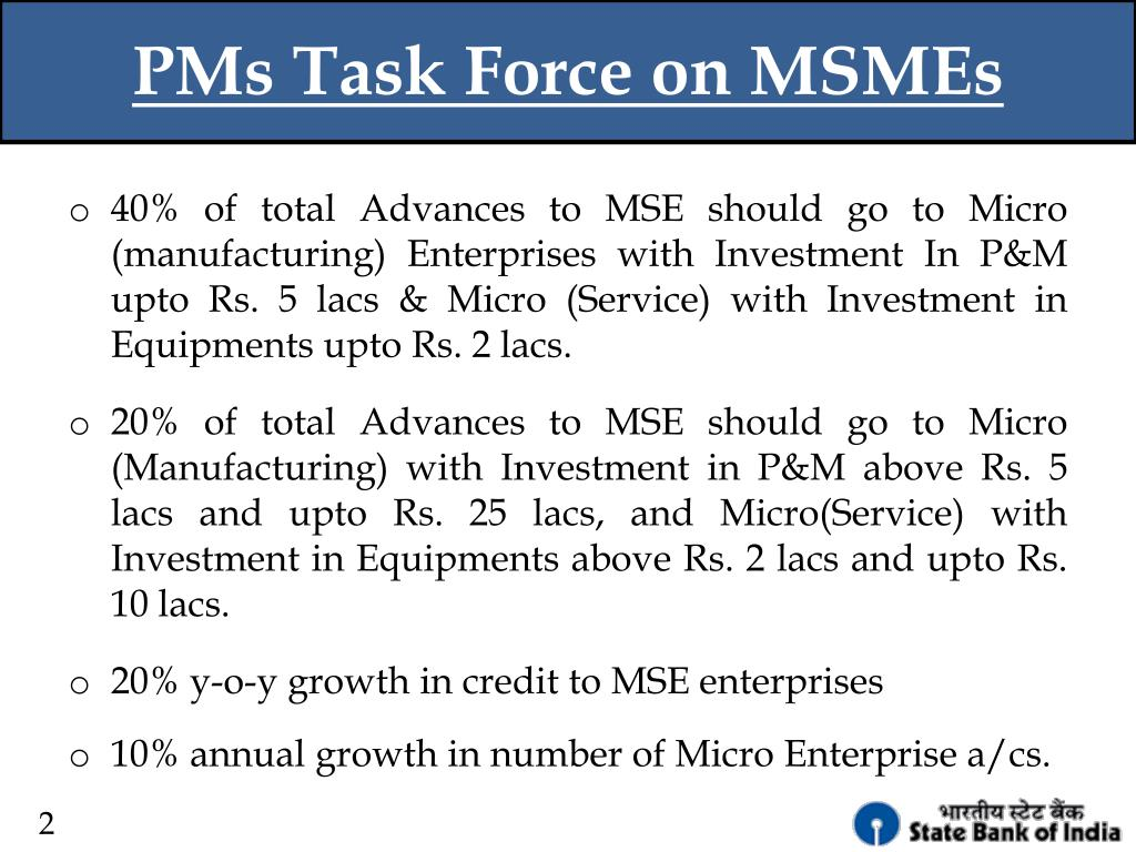 PMs Task Force on MSMEs