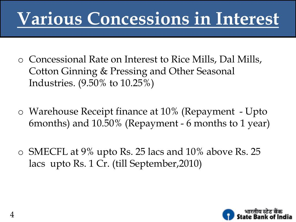 Various Concessions in Interest
