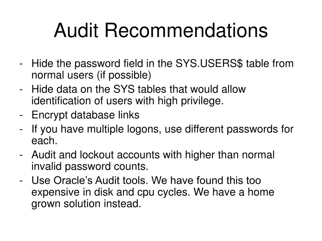 Audit Recommendations