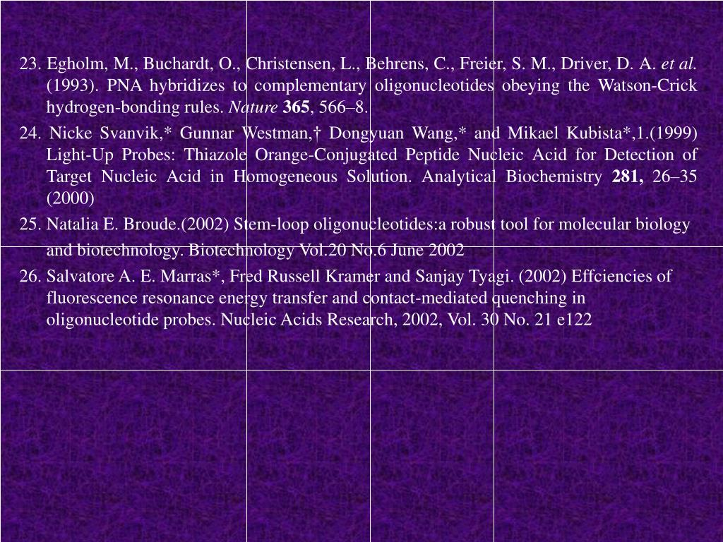 23. Egholm, M., Buchardt, O., Christensen, L., Behrens, C., Freier, S. M., Driver, D. A.