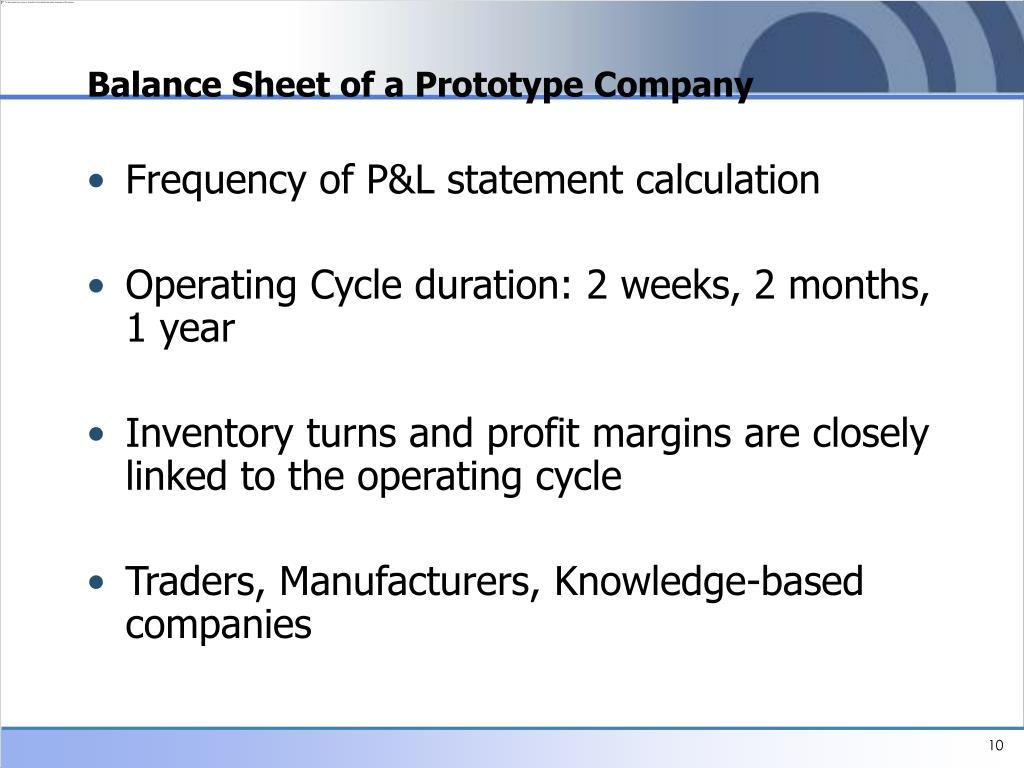 Balance Sheet of a Prototype Company
