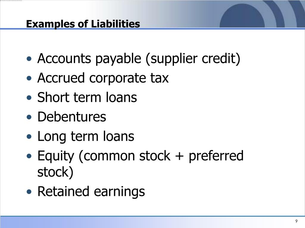 Examples of Liabilities