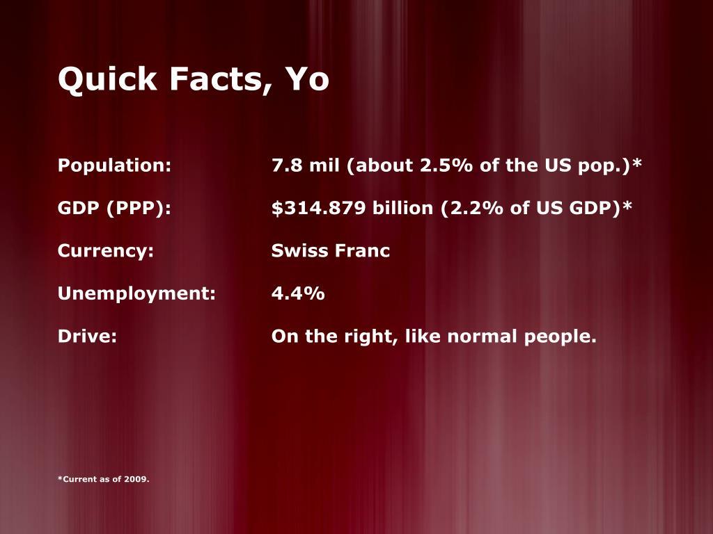 Quick Facts, Yo