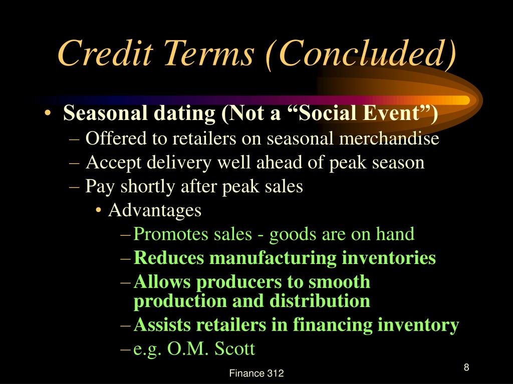 Credit Terms (Concluded)