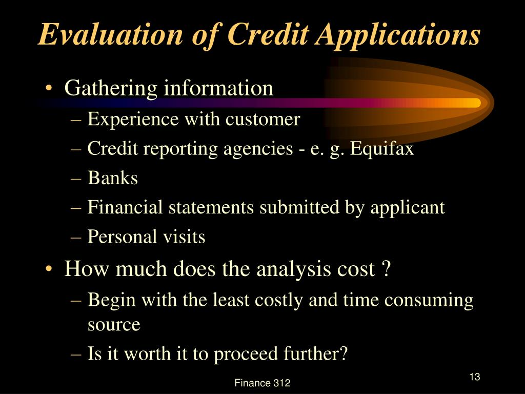 Evaluation of Credit Applications