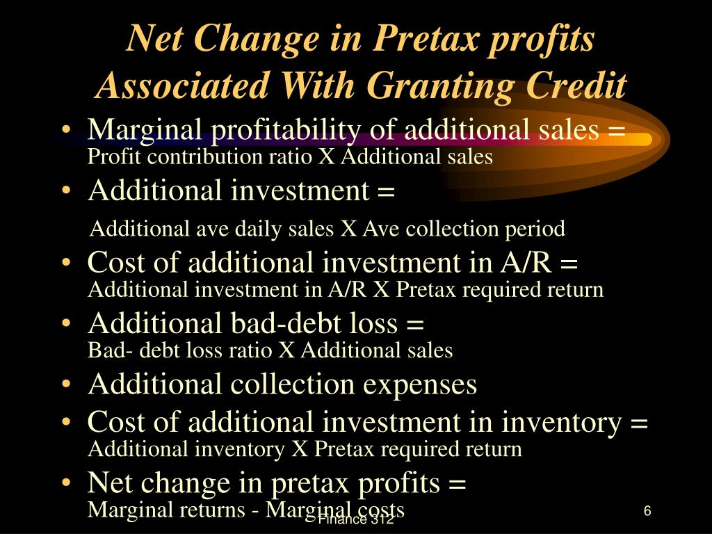 Net Change in Pretax profits Associated With Granting Credit