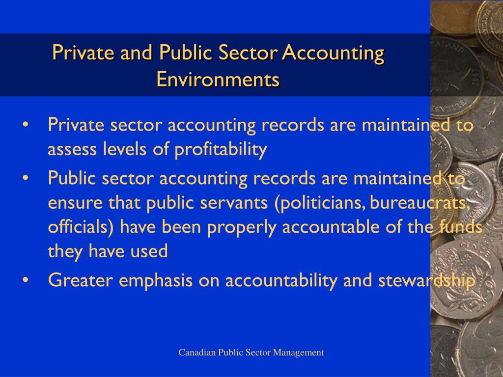 Private and Public Sector Accounting Environments