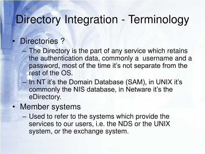 Directory integration terminology