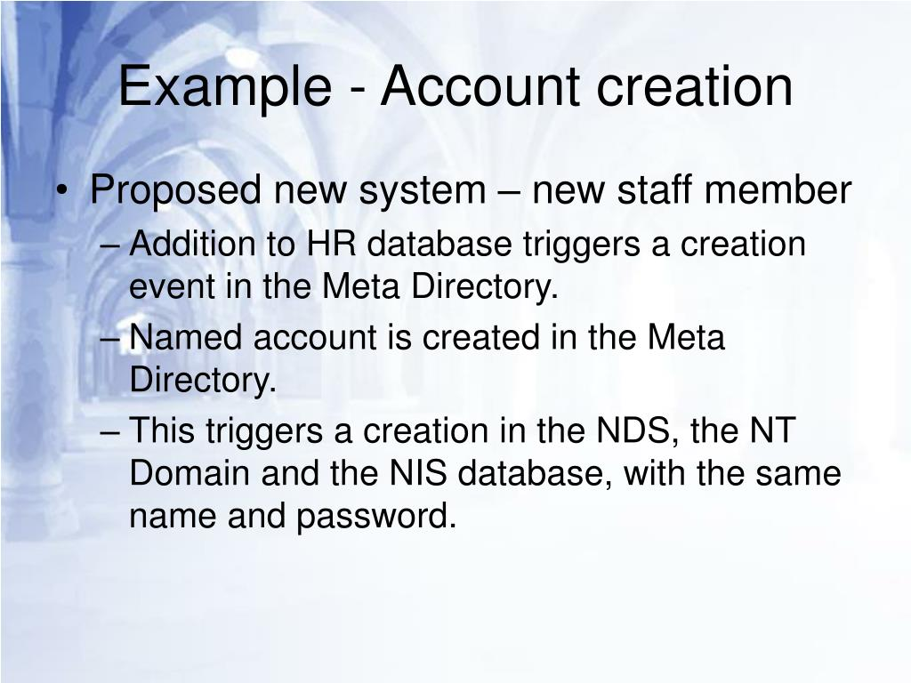 Example - Account creation