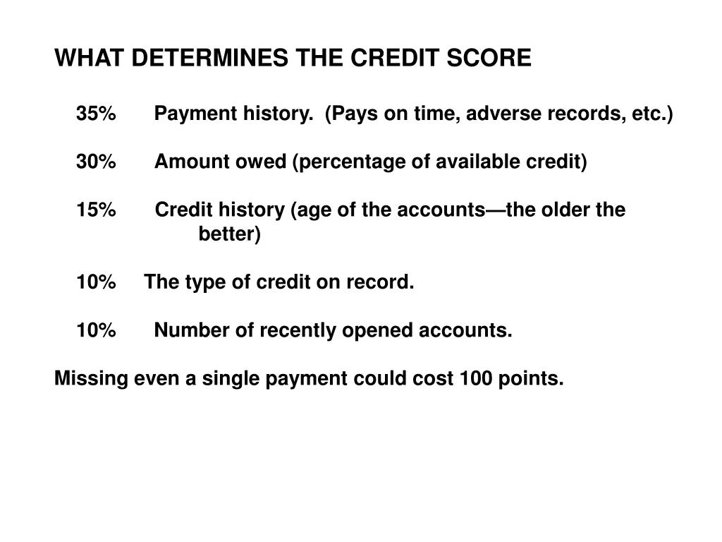 WHAT DETERMINES THE CREDIT SCORE